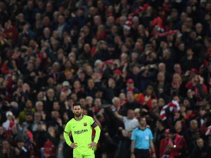 Messi, tras la derrota del Barcelona en Anfield ante el Liverpool.