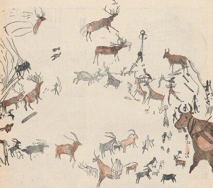 Figuras animales de la parte izquierda del Abrigo Grande de Minateda, en una imagen publicada por la revista francesa 'Floreal' en 1920.