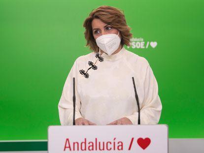 Susana Díaz, en una rueda de prensa a mediados de enero.