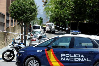 Cordón policial en la zona de Marbella donde fue asesinado David Ávila, 'Maradona', en mayo de 2018.