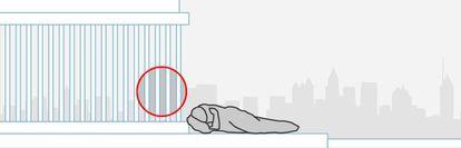Ejemplo de un soportal donde la instalación de rejas impide acceder y cobijarse.