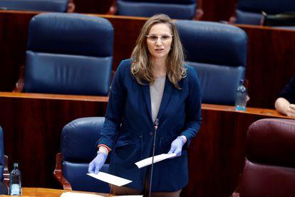 Paloma Martín, durante un pleno de la Asamblea de Madrid en mayo de 2020.