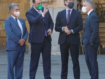 Feijóo, junto a los presidentes de Cantabria, Asturias y País Vasco, el pasado julio en Salamanca.