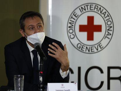 El jefe de delegación en Colombia del Comité Internacional de la Cruz Roja, Lorenzo Caraffi, durante la presentación del balance anual, en Bogotá.