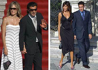 Figo y Raúl, acompañados de sus esposas, saludan al público antes de comenzar la ceremonia.