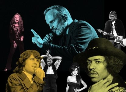 Miguel Bosé, en el centro del collage, rodeado de algunas célebres figuras de la música que también han sido relacionadas con la adicción a sustancias o han hablado públicamente de ello: Janis Joplin, Kurt Cobain, Jimi Hendrix, Amy Winehouse, Rafael Amargo o Jim Morrison,