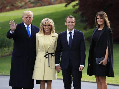 Los Trump y los Macron posan este lunes en la Casa Blanca