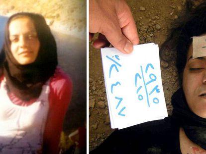 Archivo fotográfico del dossier filtrado por un desertor en el que se documenta la muerte de una joven detenida por el régimen sirio.
