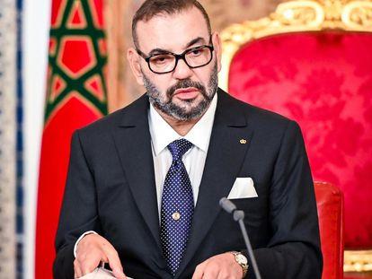 Mohamed VI este sábado durante su discurso con motivo de la Fiesta del Trono