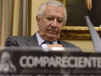 Javier Arenas, durante su comparecencia en la comision de investigacion de la presunta financiacion irregular del Partido Popular en el Congreso.