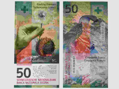 El billete de 50 francos suizo.