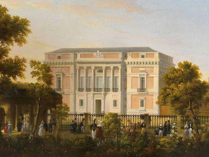Vista de la fachada sur del Museo del Prado, desde el interior del Jardín Botánico, por José María Avrial y Flores, hacia 1835.