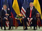 El presidente de Colombia, Iván Duque, junto a su homólogo de Estados Unidos, Donald Trump.