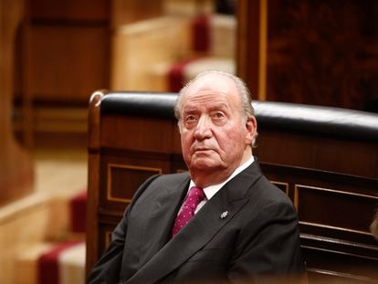 Juan Carlos I, en el acto conmemorativo del 40º aniversario de la Constitución en el Congreso, el 6 de diciembre de 2018.