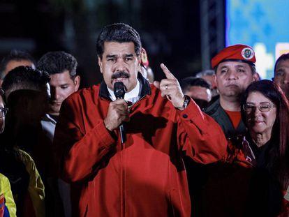 Maduro, durante la celebración de los resultados electorales.