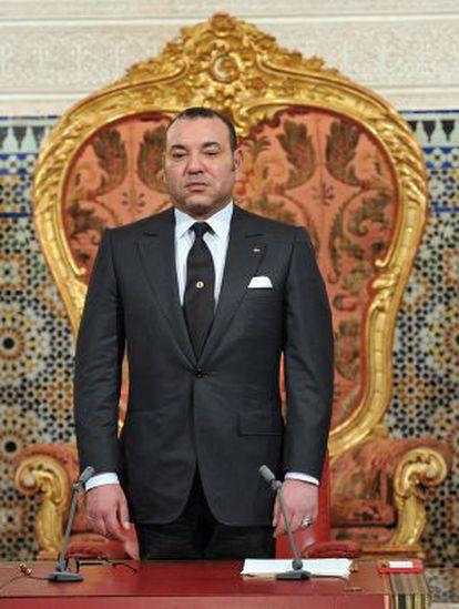 Mohamed VI, en el palacio real, tras anunciar a su pueblo cambio en la Constitución, en marzo de 2011