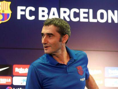 Ernesto Valverde, en la sala de prensa de la ciudad deportiva del Barcelona.