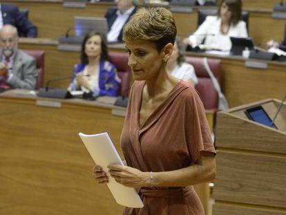 María Chivite, este jueves durante el pleno de investidura.