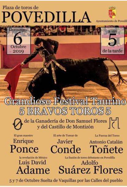 Cartel del festival taurino de Povedilla (Albacete)
