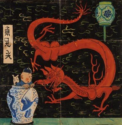 Dibujo original de Hergé para 'El loto azul'.