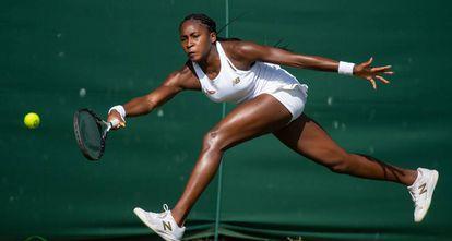 Cori Gauff, durante un partido en Wimbledon.