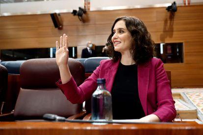 La presidenta regional, Isabel Díaz Ayuso, durante la sesión de control al Ejecutivo regional el pasado 14 de mayo.