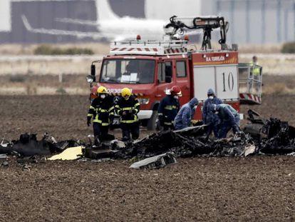 Los restos del F-18 siniestrado en octubre de 2017 tras despegar de la base de Torrejón.