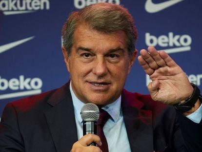 El presidente del Barcelona, Joan Laporta, durante un acto en el Camp Nou.