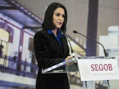 Lydia Cacho en la Secretaría de Gobernación mexicana.