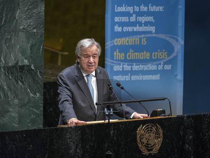 Antonio Guterres, en su intervención en el 75º aniversario de la ONU, este lunes en Nueva York.