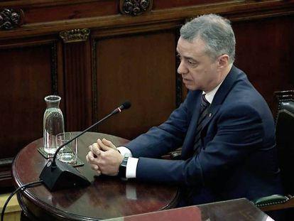 El lehendakari Iñigo Urkullu, durante su declaración en el Tribunal Supremo.