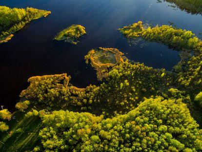 Vista aérea del lago Stupens con las tierras agrícolas y bosques que lo rodean. Gauja es el río más largo de Letonia y uno de los puntos más importantes de turismo sostenible de la región.