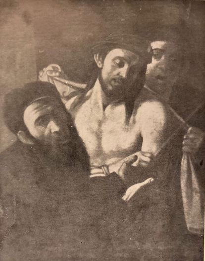 Photograph of a copy of Caravaggio's eccehomo made by Roberto Longhi in 1954