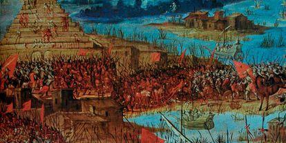 Toma de Tenochtitlán, la capital azteca, por las tropas de Hernán Cortés.