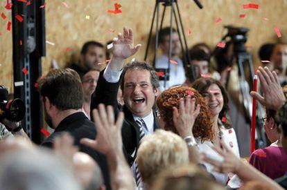 Jordi Hereu en el mitin final de la campaña electoral.