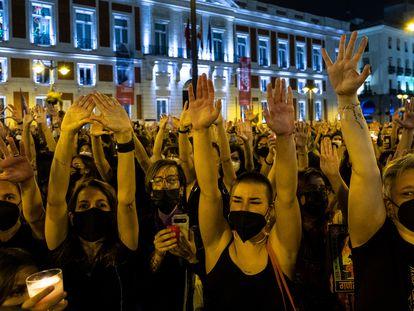 Manifestación en contra de la violencia machista en la Puerta del Sol en Madrid.