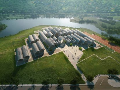 'Render' del proyecto para una escuela en Jiangxi (China).