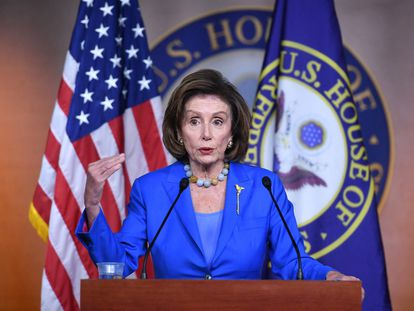 Nancy Pelosi, durante la rueda de prensa de este martes en el Capitolio.