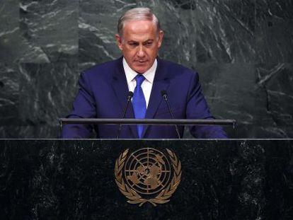 El primer ministro israelí, Benjamín Netanyahu, se dirige al plenario de Naciones Unidas, este jueves en Nueva York.