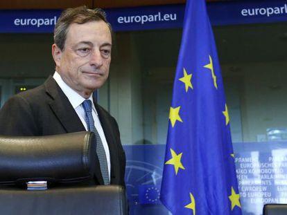 Mario Draghi, presidente del Banco Central Europeo, en el Parlamento Europeo en 2014