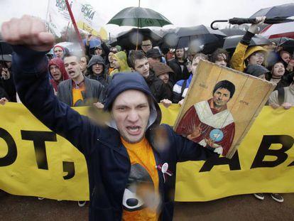 Protestas en San Petersburgo por el bloqueo a Telegram en medio de las manifestaciones por el Día del Trabajo, este lunes