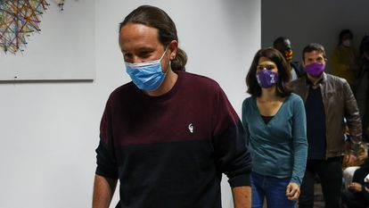 Pablo Iglesias, antes de anunciar su retirada de la política en la noche de las elecciones autonómicas de la Comunidad de Madrid el pasado 4 de mayo.