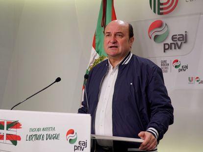 Andoni Ortuzar, durante una comparecencia en la sede del PNV en Bilbao.