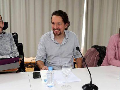 Echenique, Iglesias y Montero en el Consejo Ciudadano de Podemos.