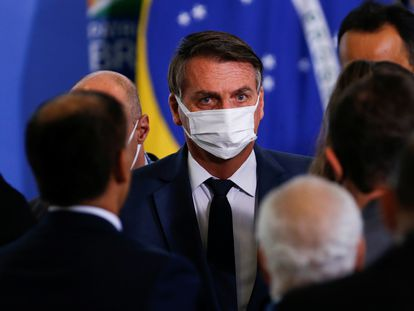 El presidente de Brasil, Jair Bolsonaro, este miércoles en el Palacio de Planalto en Brasilia (Brasil ).
