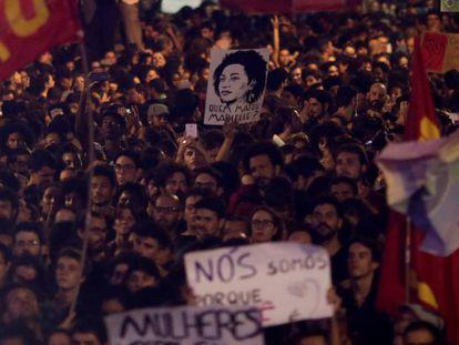 Una manifestación por el asesinato de Marielle Franco en Río de Janeiro.