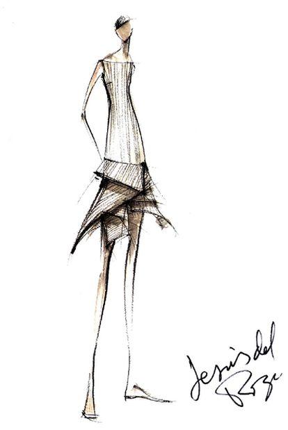 Reproducción de un boceto del diseñador de moda Jesús del Pozo, fallecido hoy.
