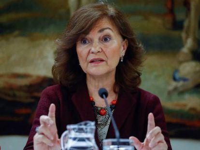 Carmen Calvo, el lunes en Madrid.