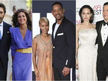 Juan del Val y Nuria Roca; Jada Pinkett y Will Smith; Angelina Jolie y Brad Pitt.