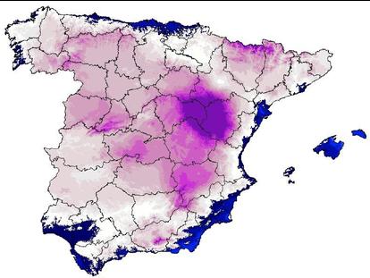 El mapa de temperaturas de la ola de frío